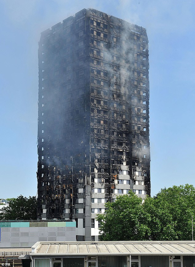 The inquiry into the Grenfell Tower tragedy (pictured) resumed on Monday, its first sitting since the middle of March due to delays caused by the coronavirus pandemic