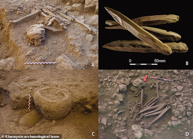 These four images show the funerary area studied by researchers with the top left showing a secondary burial, top right showing knives, bottom left a stone bowl and bottom right the primary burial