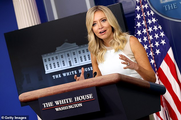 Pressed repeatedly during her 20 minute press briefing on what President Trump meant in his tweet, a visibly exacerbated press secretary Kayleigh McEnany emphasized over and over again the tweet should be taken 'in aggregate'