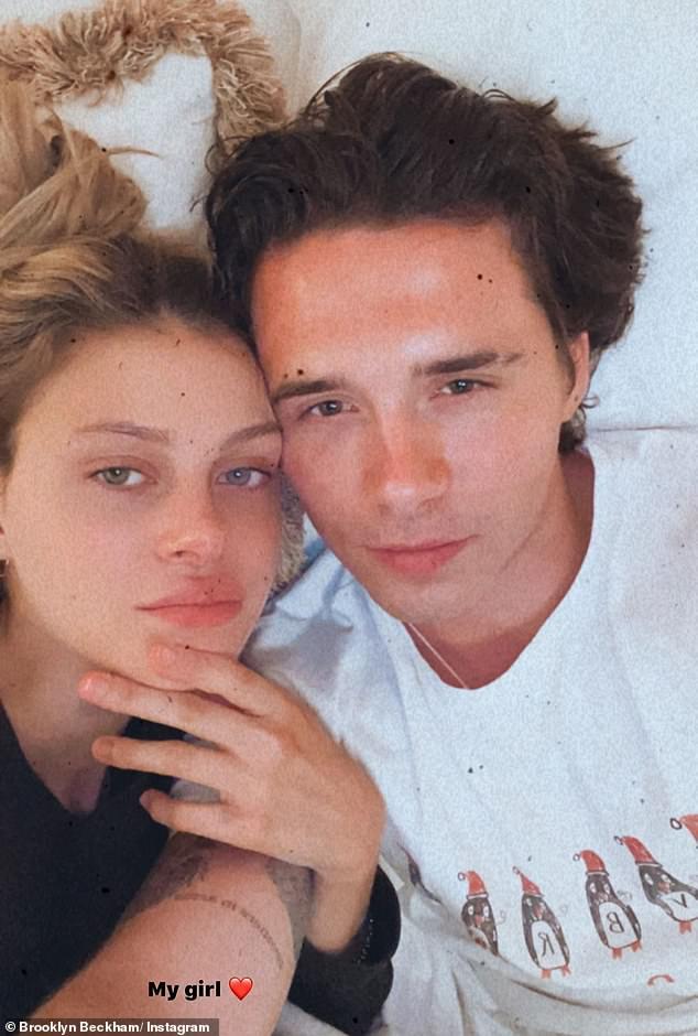 Young love:Brooklyn had been spending the coronavirus lockdown in New York with girlfriend Nicola Peltz
