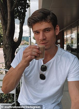 HIS: Matt sips a coffee at Melbourne's Legacy Camberwell. Uploaded Feb 15