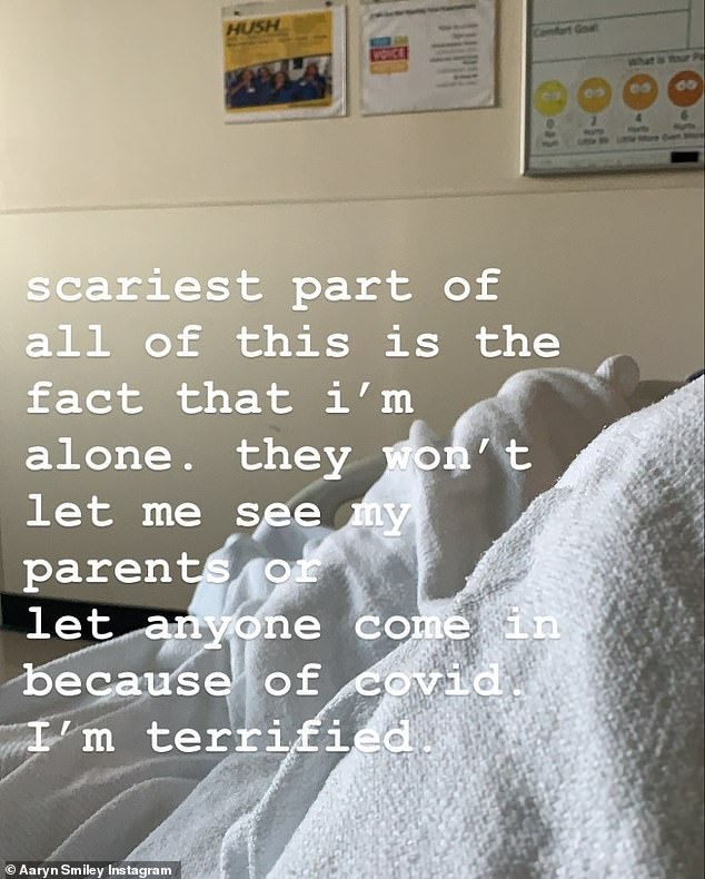 Alone: Aaryn, 19, explained how scary it was to not have family by your side because of the isolation protocols in place due to the COVID-19 pandemic