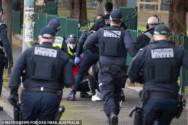Police rush to help their colleagues as they go to ground with a young mum in Flemington on Tuesday
