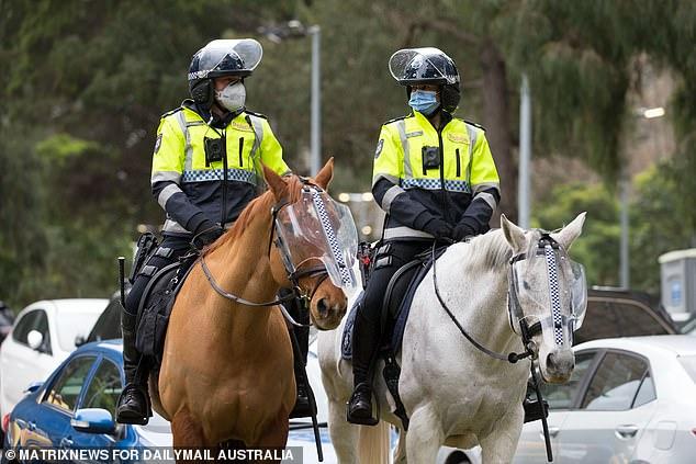 Police on horseback in Flemington on Tuesday
