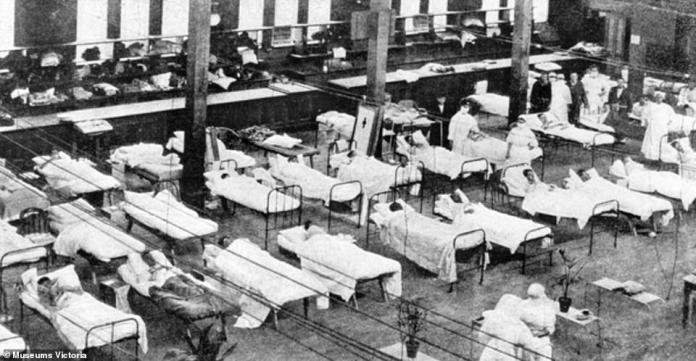 Makeshift hospitals, much like the one pictured above at the Royal Exhibition building in Melbourne in 1919, were set up nationwide throughout the Spanish Flu pandemic