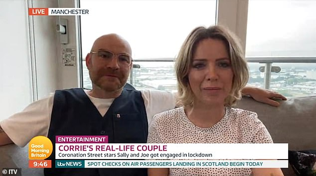 Loved-up: During the interview, they revealed how they fell for each other, admitting they 'clicked slowly' as their friendship blossomed into a full-blown romance