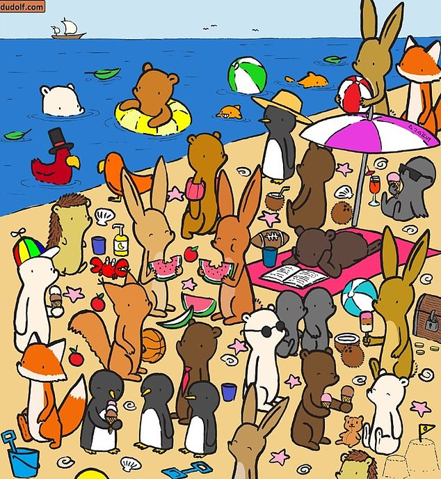 Hungarian children's illustrator Gergely Dudás, better known as Dudolf, challenged players to find the seven things separating these two almost identical beach scenes