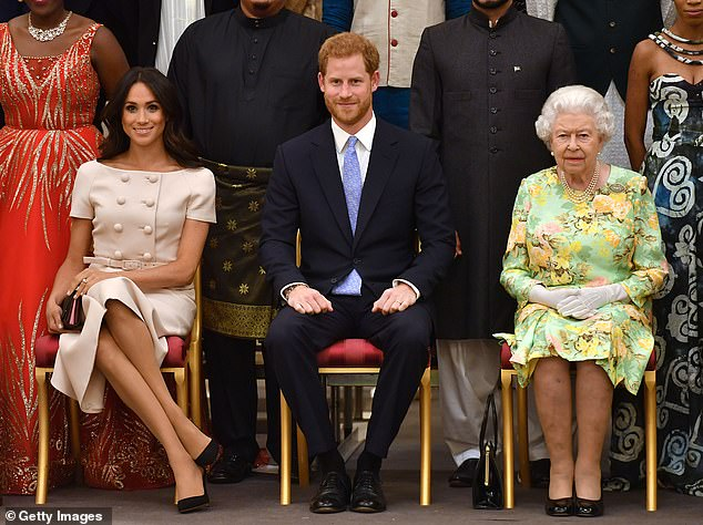 Prince Harry (pictured middle)'s latest remarks go against what the Queen (right) has been trying to build over the last few decades regarding the Commonwealth