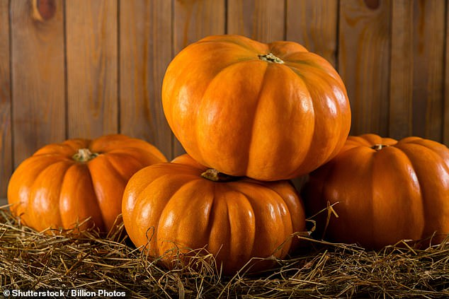 Potatoes, sweet potatoes and whole pumpkins (pictured), which can be kept in the pantry