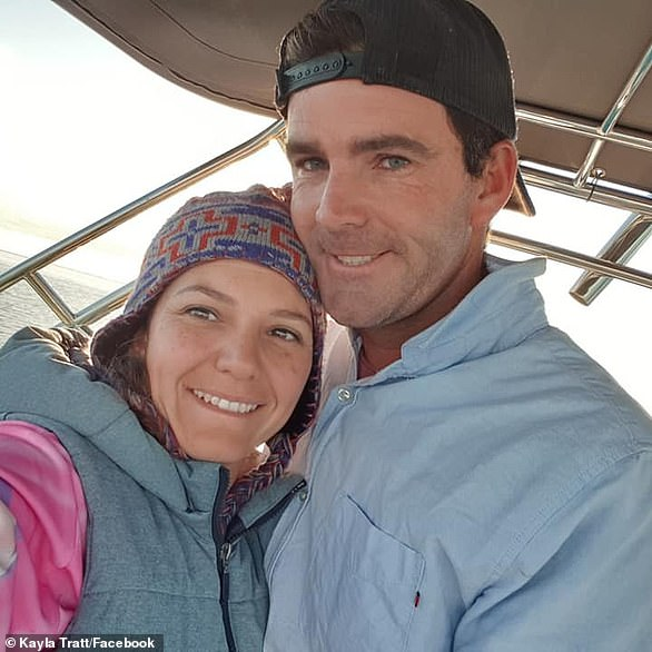 Matthew Tratt, 36, was attacked by a shark off Indian Head at about 2pm on Saturday while spear fishing with his brother. Pictured with his widow Kayla