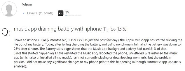 One iPhone owner stating the Music app used 81 percent of the battery and others noted the smartphone 'felt hot' while it lost power