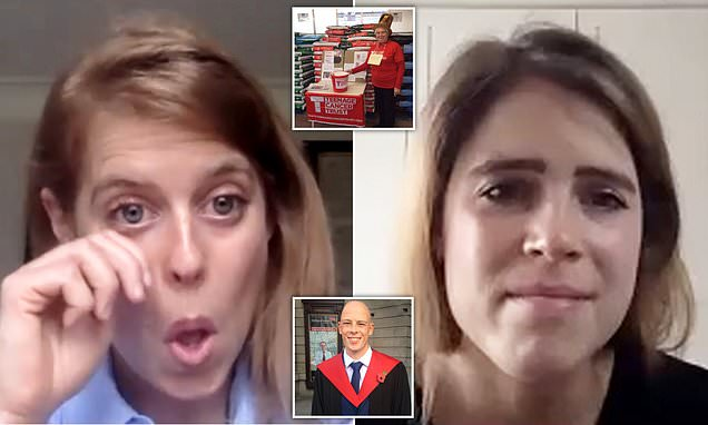 Princess Eugenie and Princess Beatrice become tearful in video call