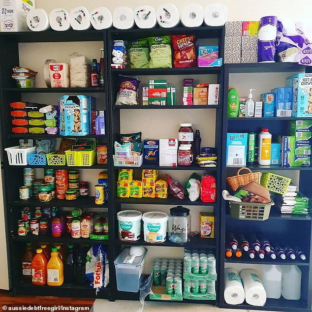 Images on social media show rooms filled with tinned goods, packets of chips and pots of noodles