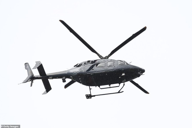 A New Zealand Police Eagle helicopter flew over Eden Park stadium during Mr Hunt's funeral service