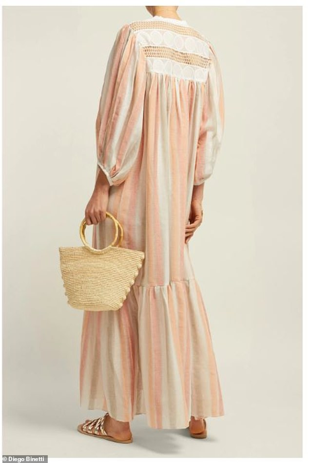 Summer is here: The season's bohemian style carryalls that will have you looking (and feeling!) like a jetsetter - even if you're only making a grocery run. Pictured:light my fire striped cotton maxi dress by Diego Binetti, now $138; diegobinetti.com