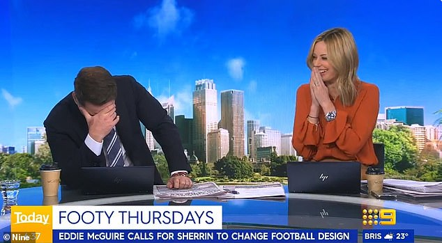 Friday fun! Watch the moment Today host Karl Stefanovic (left) walks off set on live TV after Allison Langdon (right) described him as 'lazy' in a hurtful tweet - but is everything as it seems?