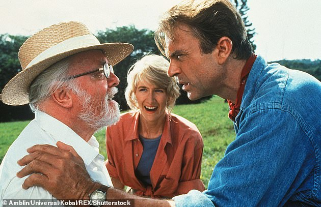 'We have  a T-Rex!' Returning Jurassic Park stars Laura Dern and Sam Neill were also stopped from getting to work [pictured with the late Richard Attenborough in the original 1993 film]