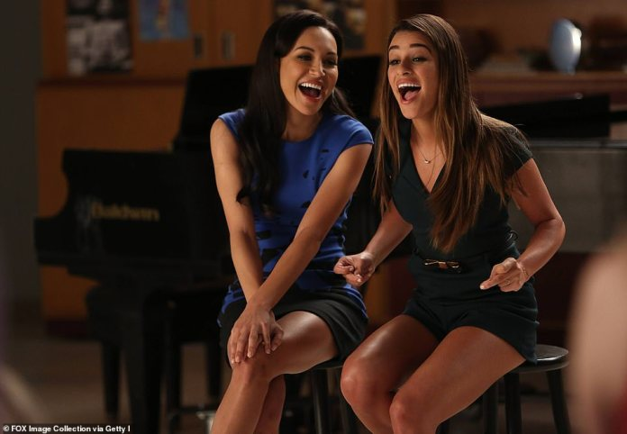 Naya Rivera (left) with co-star Lea Michele in an episode of Glee which aired in March 2014