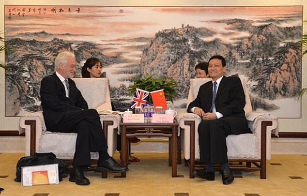 Professor Peter Nolan, 71, director of the China Centre and a fellow at Jesus, meets withChairman Xiao Yaqingm, head of Beijing's State-owned Assets Supervision and Administration Commission, in Beijing in September 2018