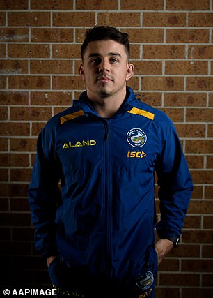 Eels player Reed Mahoney was a witness at the trial, with the court hearing he told the alleged victim on the driveway: 'You're only upset because your mate caught you being a whore.'