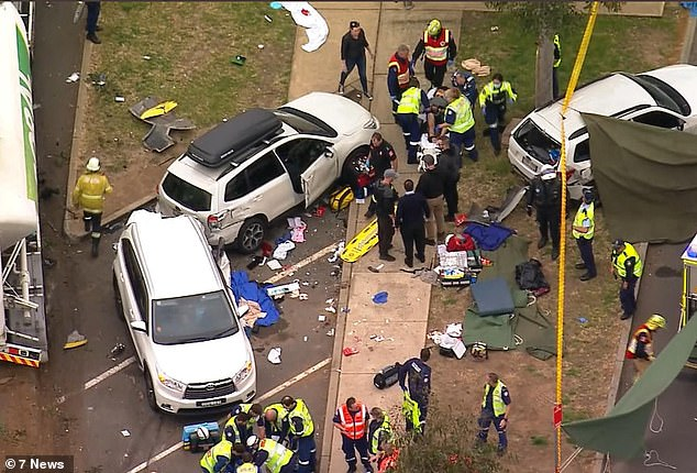 An eight-year-old girl died and five people were taken to hospital after a cement truck veered into a series of parked cars at a rest stop in Menangle in Sydney's south west on Friday afternoon