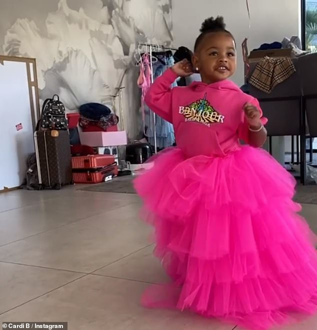Dancing Queen:The I Like It hitmaker also shared a clip of her girl dancing and clapping as she and pals cheered 'go Kulture!'