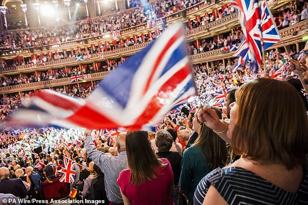The Last Night of the Proms features songs such as Rule, Britannia!, Land of Hope and Glory and Jerusalem to an audience of flag-waving fans