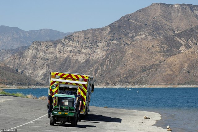 An emergency vehicle on the shore of Lake Piru during the second day of the search for missing actress Naya Rivera yesterday