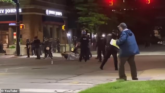 The incident took place near Erie's City Hall and followed a peaceful protest that became volatile after it ended earlier in the day