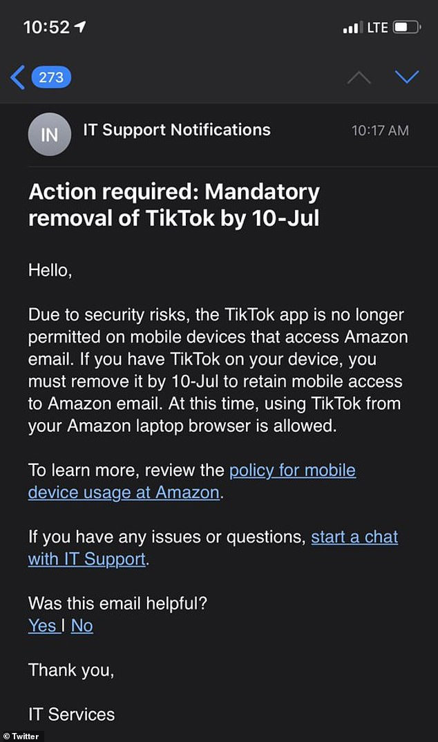 A memo has surfaced online that requests 'all staff' remove the app from mobile devices with access to Amazon emails by July 10. The e-commerce giant cites 'security risks' as the reason for the ban, but notes staff can continue to use TikTok from their Amazon laptop browser