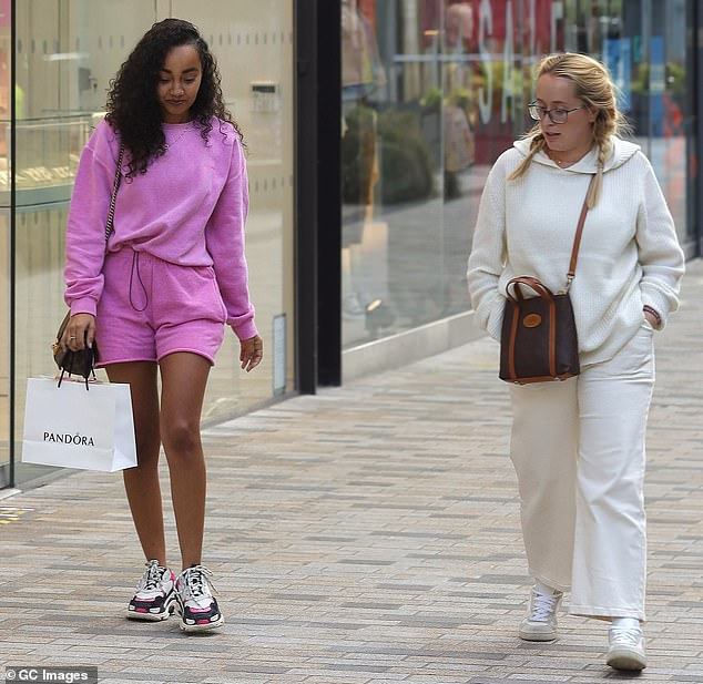 Pals: Leigh-Anne headed out on the shopping trip with a blonde pal