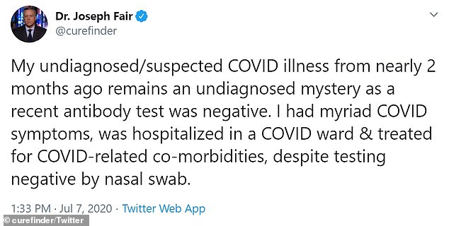 On Tuesday he tweeted that his illness was not, it seems, caused by COVID-19