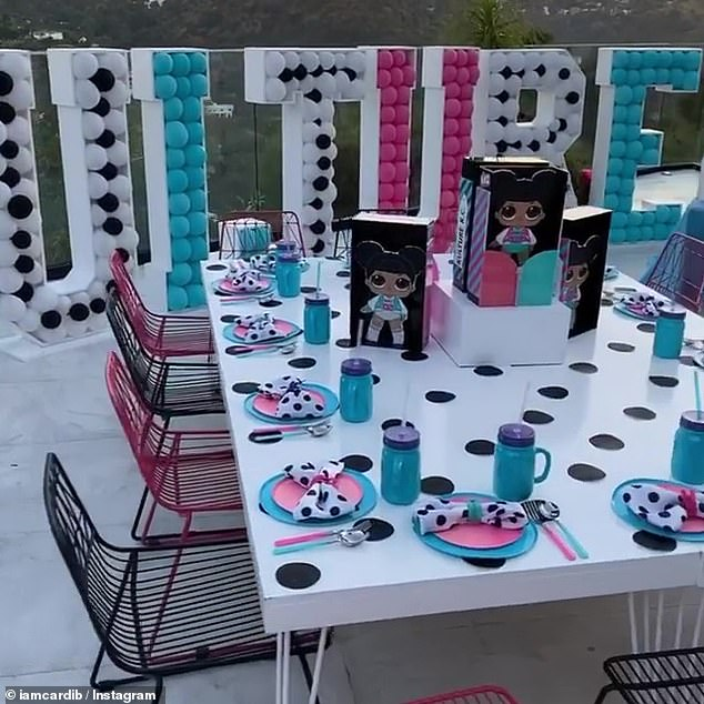 Table settings: Each table was set up with themed dish ware, polka dot napkins, and various decor
