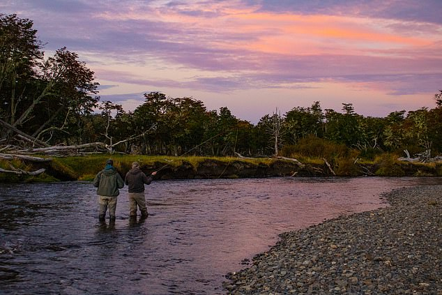 Peaceful:World's End Lodge caters for those hoping to catch sea trout and has access to the Irigoyen River (pictured)