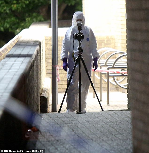 Forensic officers at the scene of a murder investigation after a man was stabbed to death in Poplar on Friday