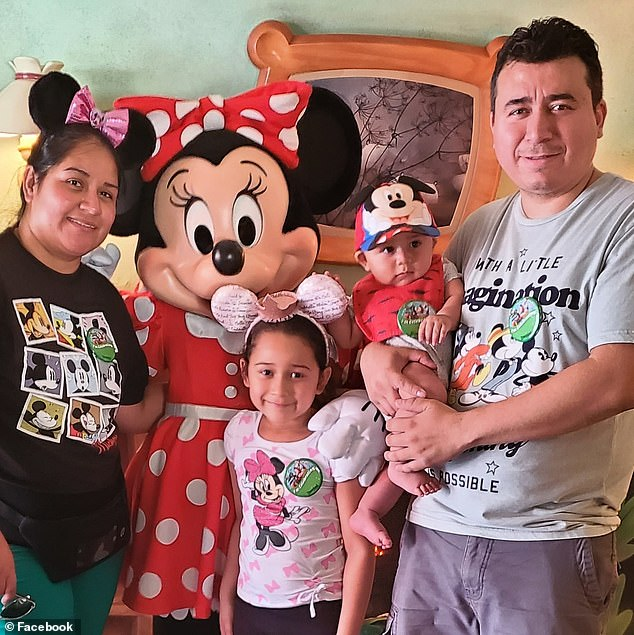 Aurora Chacon Esparza, 35, (pictured left) is fighting for her life from coronavirus in a Minnesota hospital. Her family (husband Juan and oldest two children pictured) are pleading for a transfer to another hospital that can offer her potentially life-saving treatment