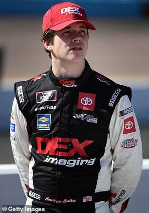 Pictured: Harrison Burton, 19, who representsNo. 20 Joe Gibbs Racing Toyota