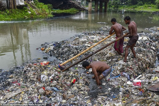 The water used to be a canal before heaps of urban waste made a land mass in the 24 kilometres to the northwest of Bangladesh's capital