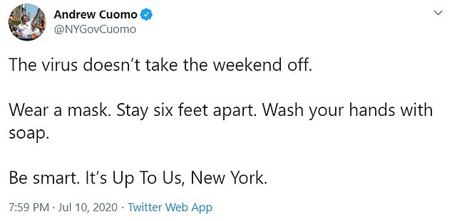Governor Andrew Cuomo warned New Yorkers to continue with social distancing