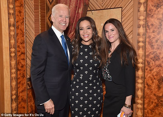 Ashley Biden, 39, Joe Biden's daughter (seen far right with her father and TV host Sunny Hostin in April 2018), was arrested when she was a 17-year-old college freshman for possession of marijuana