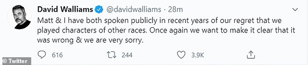 Apologising: In June, David and Matt issed a joint statement the pair insisted it was 'wrong' to portray characters of other races, but reiterated it's something they have apologised for in the