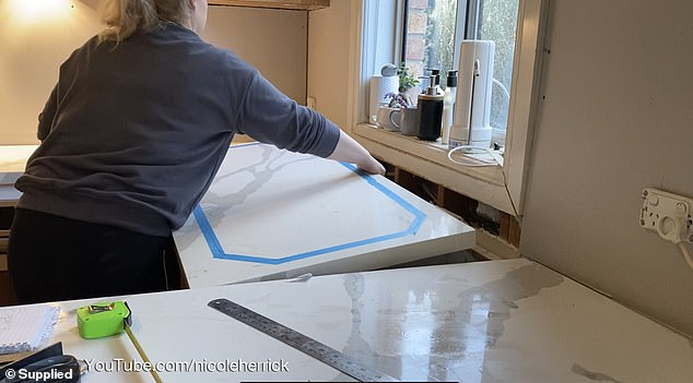 DURING: Once the 41-year-old had got the all clear, she set about sourcing materials and getting to work in her kitchen