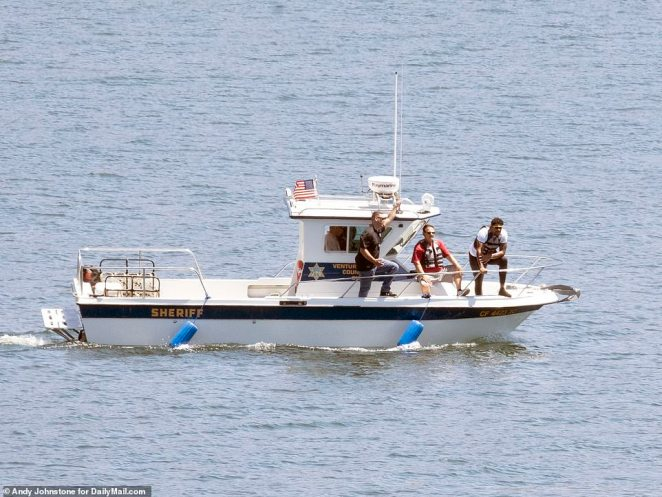 Naya Rivera disappeared while out boating at Lake Piru in Ventura with her four-year-old son Josey on Wednesday and is now presumed dead. Pictured above Naya's brother can be seen on the front of the boat during the search
