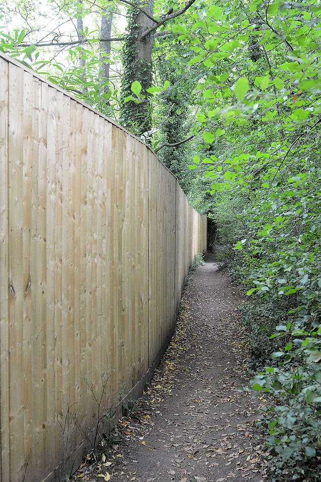 It is not the first time Mr Burton has angered his neighbours with a fence on his land. In 2018, he put up a 7ft-tall, 130 foot-long wooden structure (pictured) which walkers said cuts out the light and narrows the public footpath next to the property