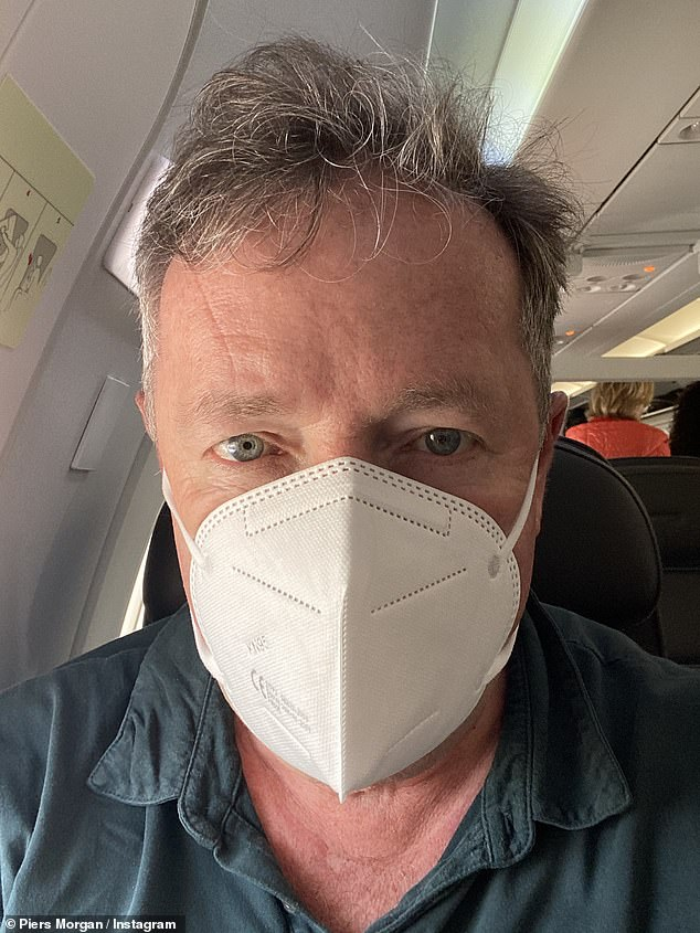 Get me out of here!  The radio reporter also made fun of him by going to social media to share a photo of him wearing a face mask on Sunday.