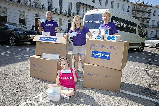 In the last week of June, the Mail Force charity donated 28,000 PPE masks to be given to families most in need of equipment