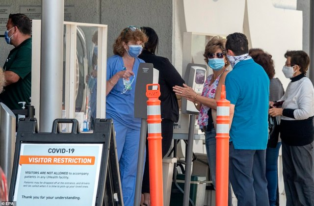 People wearing masks wait to enter to the Jackson Memorial Hospital in Miami, Florida