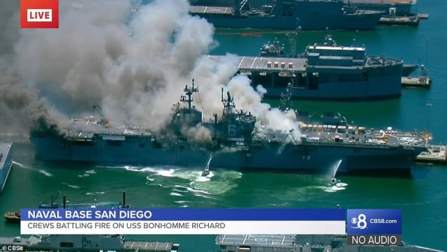 This close up show shows how smoke enveloped the840-foot ship Sunday morning. There were 200 sailors and officers on board at the time