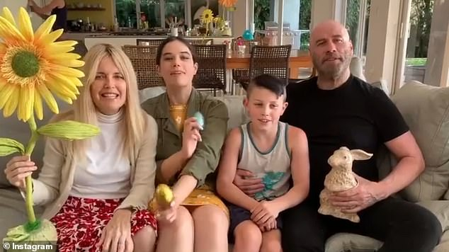 Actress and former model Preston and Travolta are pictured with their two children