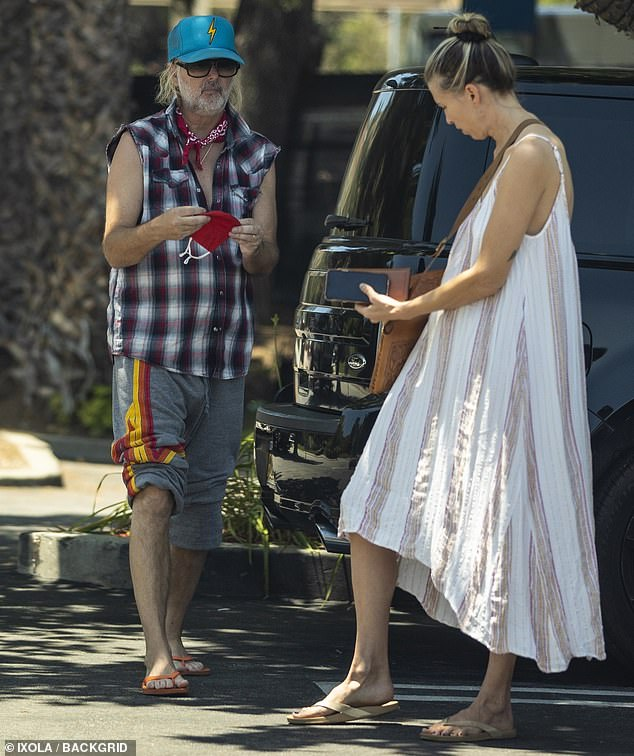 Benjamin Keough's former stepfather Michael Lockwood pictured with his fiance Stephanie Hobgood in Calabasas on Sunday